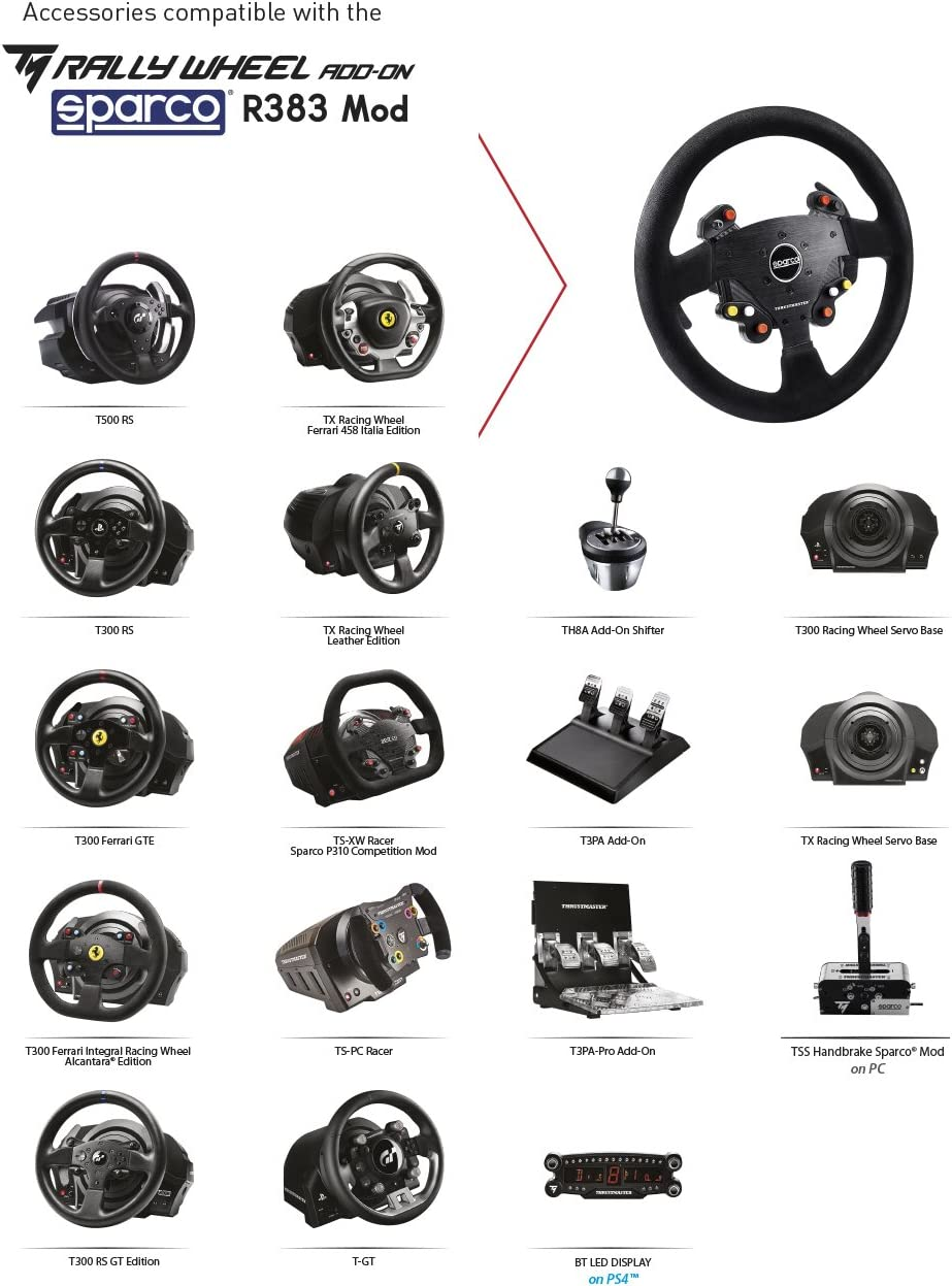 Amazon com: Thrustmaster Sparco Rally Wheel Add On R 383 MOD: pc