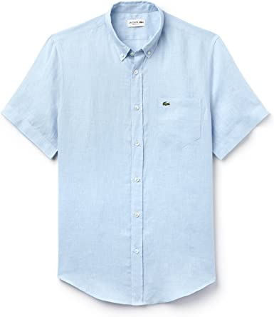Lacoste - Camisa Casual - para Hombre Azul Celeste 44: Amazon ...
