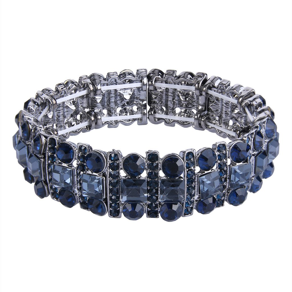 EVER FAITH Black-Tone Austrian Crystal Art Deco Three Layers Party Elastic Stretch Bracelet Navy Blue
