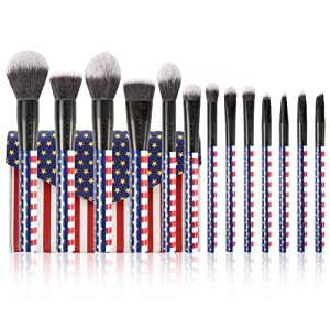 Docolor Makeup Brushes 13PC Stars & Stripes Makeup Brush Set With Case Premium Synthetic Kabuki Foundation Blending Face Powder Mineral Eyeshadow Make Up Brushes Set With Travel Bag Gift Box Set