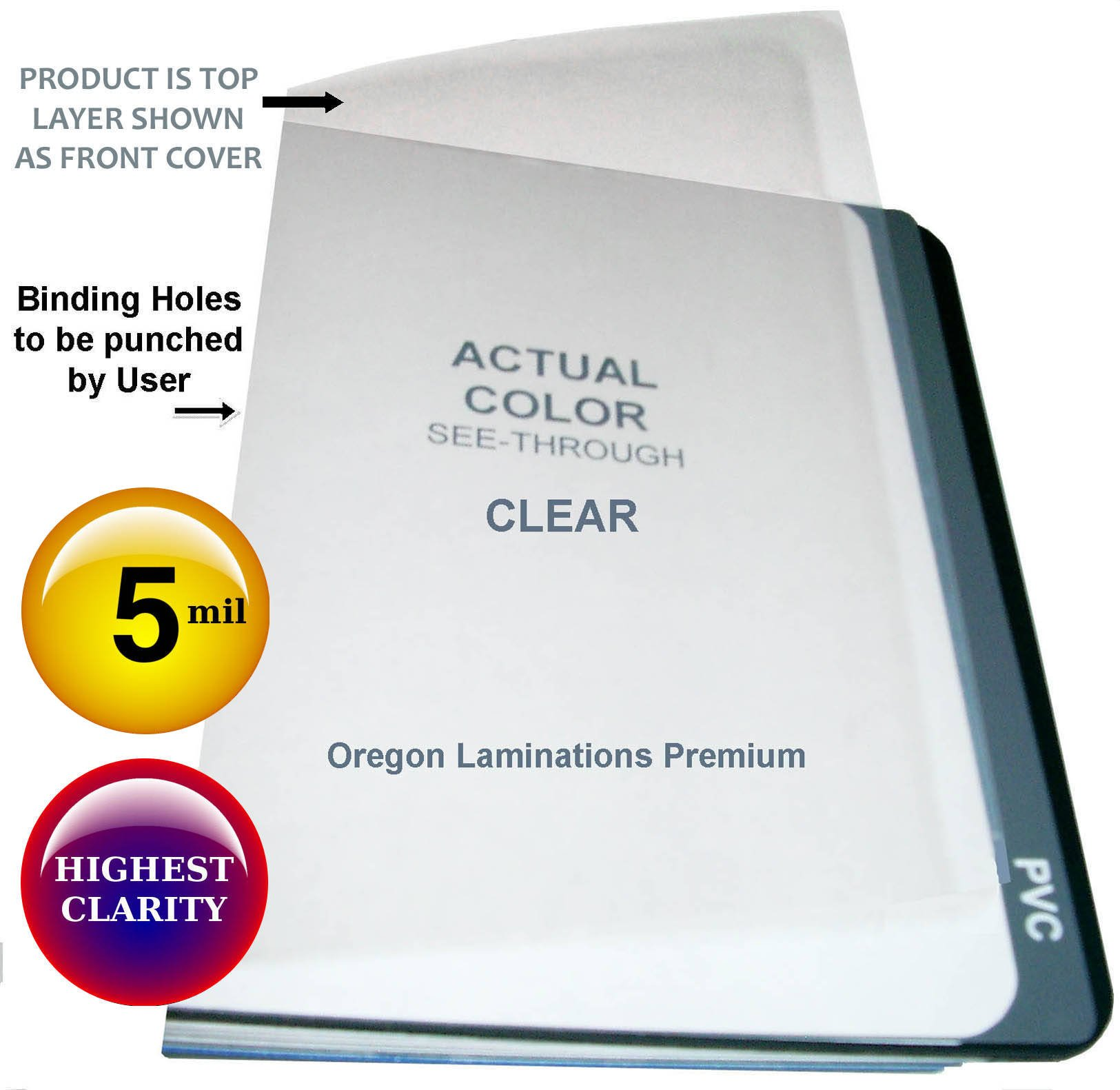 Clear Plastic Report Covers 5 Mil 8-1/2 x 11 Qty 100 Binding Sheets