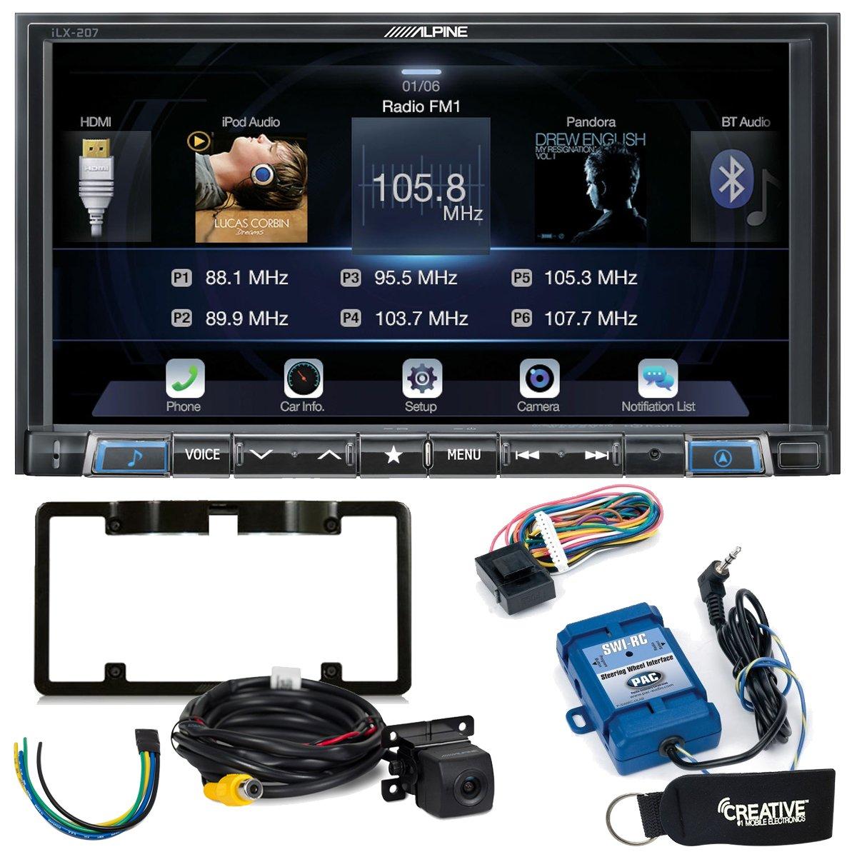 Alpine ilx-207 Apple CarPlay & Android自動受信機W/Alpine背面カメラ、ステアリングホイールインターフェイス、トリガーMod B07887GTX8
