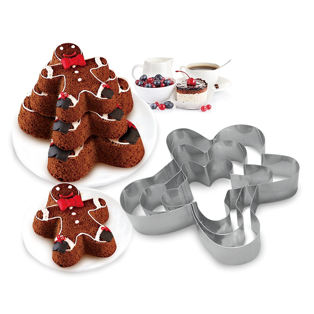 3 Tier Ginger Man Shapes Multilayer Anniversary Birthday Cake Baking Pans,Stainless Steel 3 Sizes Rings Ginger Man-Shapes Molding Mousse Cake Rings(Ginger Man-Shapes,Set of 3)
