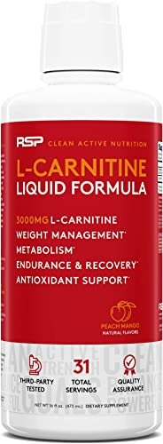 RSP Liquid L-Carnitine 3000 – Natural Weight Management and Metabolism Booster, Stimulant Free L Carnitine, Max Strength for Rapid Absorption, Peach Mango 16 oz. Packaging May Vary