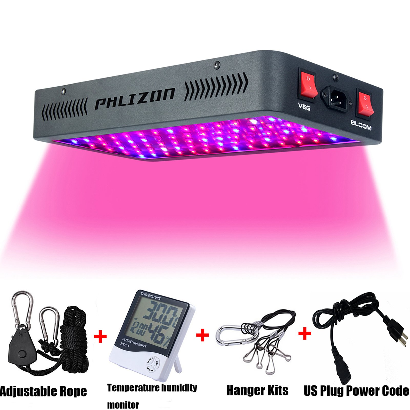 Phlizon Newest Winter 900W LED Plant Grow Light,with Thermometer Humidity Monitor,with Adjustable Rope,Full Spectrum Double Switch Plant Light for Indoor Plants Veg and Flower- 900W(10W Leds 90Pcs) by Phlizon