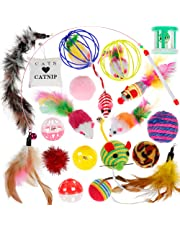 Nabance Cat Toys Kitten Toys 20PCS Cat Toys for Indoor Cats Cat Catnip Toys Cat Balls Cat Feathers Wand Interactive Cat Toys Indoor Set for Kitty and Cats