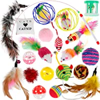 Cat Toys Kitten Toys 20PCS - Nabance Cat Toys for Indoor Cats Cat Catnip Toys Cat Balls Cat Feathers Wand Interactive Cat Toys Indoor Set for Kitty and Cats