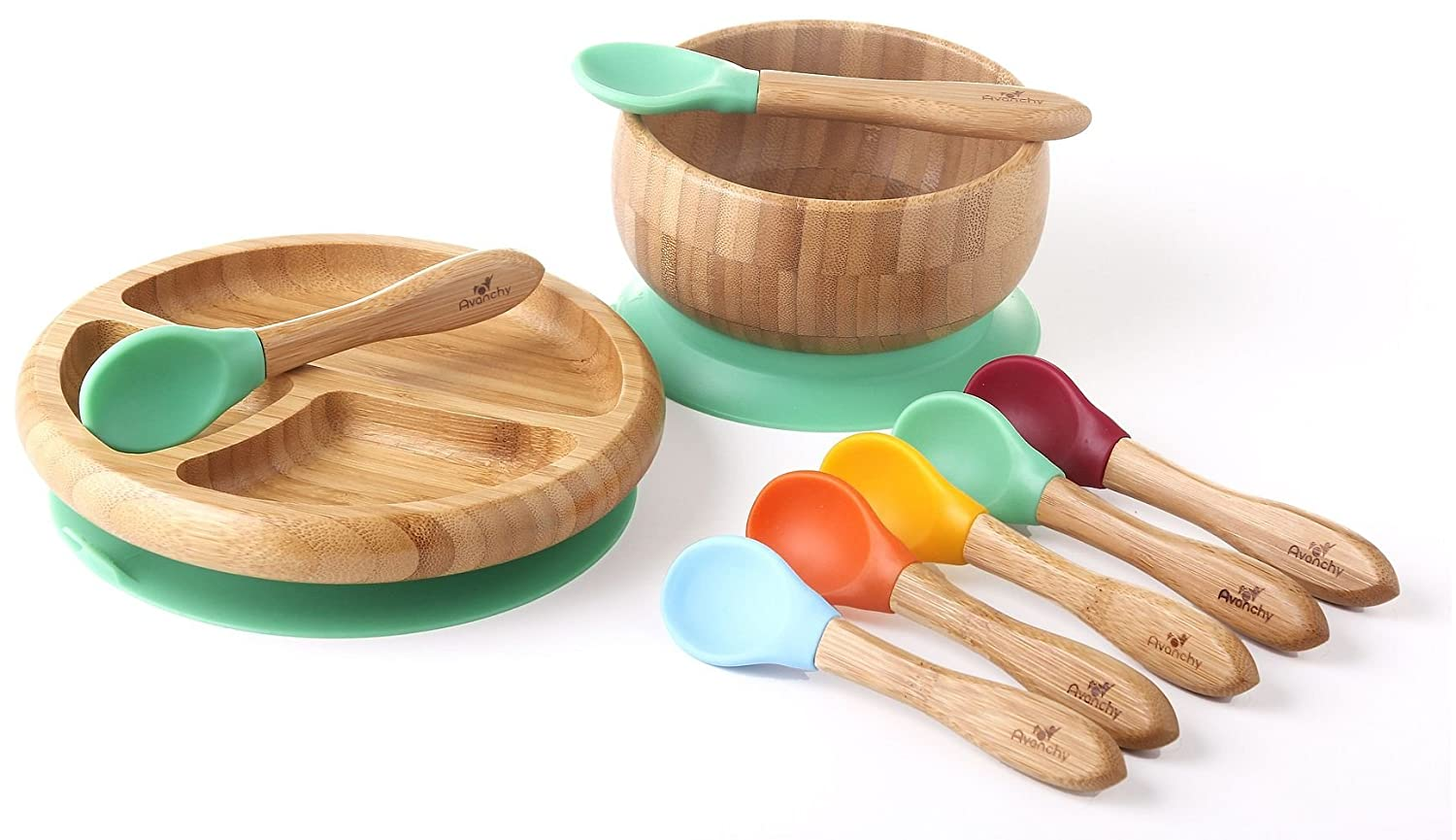 Avanchy – Rainbow Baby Set with Spill Proof, Stay Put Suction Bamboo Bowl and Spoon Set, Divided Plate and Spoon Set, and 5 Colorful Spoons – Green
