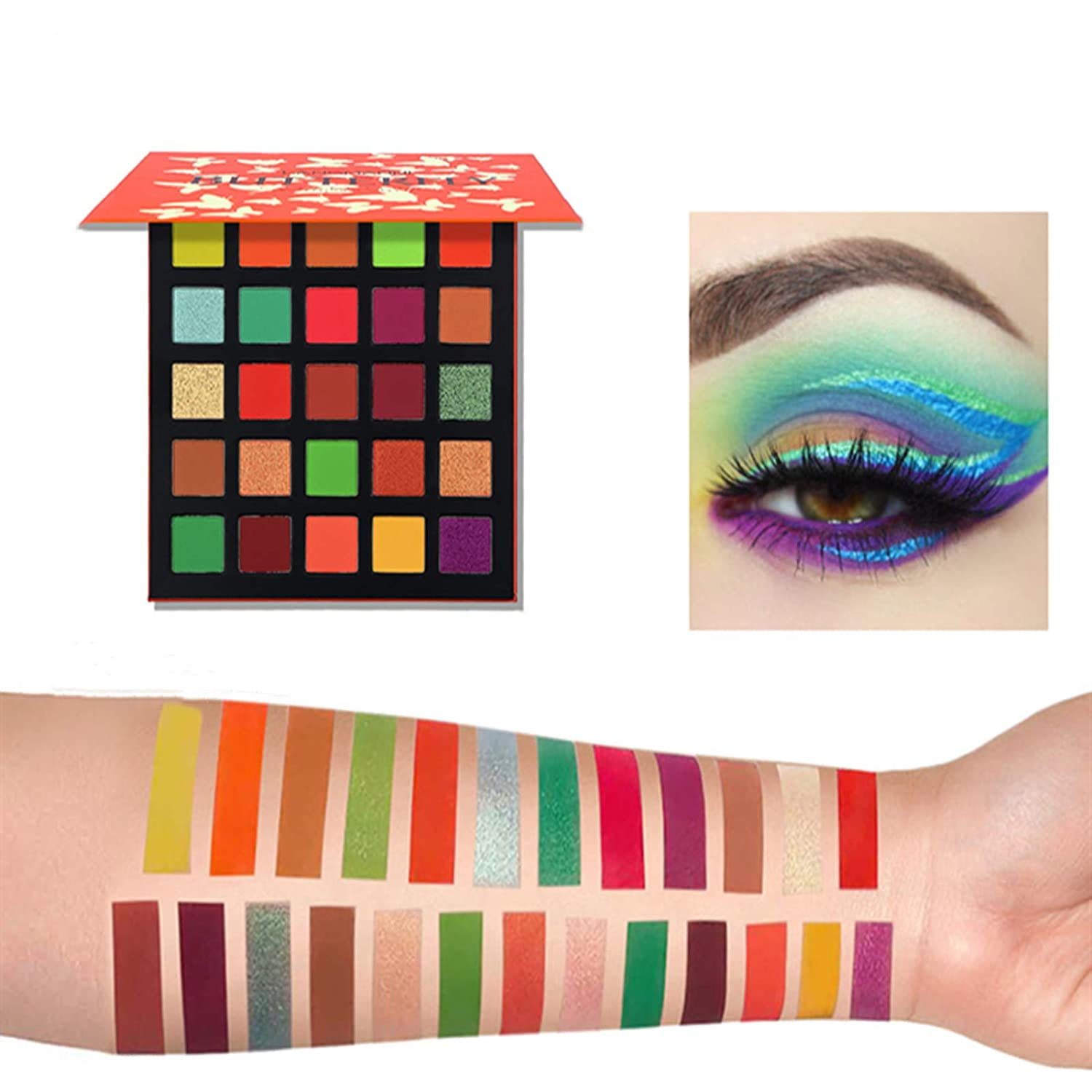 25 Colors Eyeshadow Palette, Shimmer Glitter and Matte Eyeshadow Highly Pigmented Waterproof Long Lasting Eye Shadow Vibrant Colorful Eye Cosmetic Make Palette (BUTTERFLY)