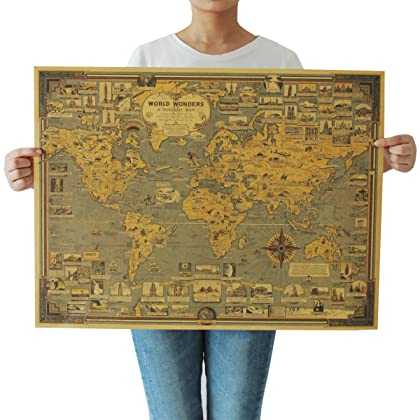 Amazon cambodia shopping on amazon ship to cambodia ship overseas souarts cream color kraft paper rectangle vintage world map decorative poster print picture gumiabroncs Choice Image