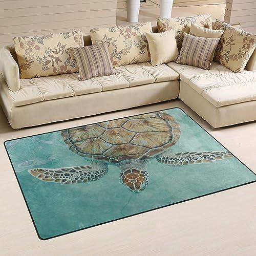 WOZO Watercolor Sea Turtle Sea Ocean Area Rug Rugs Non-Slip Floor Mat Doormats Living Dining Room Bedroom Dorm 60 x 39 inches inches Home Decor