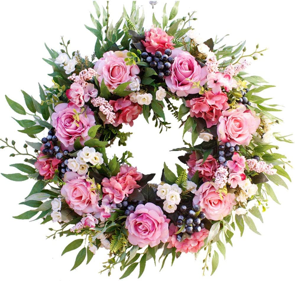 U Artlines Artificial Rose Flower Wreath 22 56cm Door Wreath With Green Leaves Christmas Festival Wreath For Front Door Wedding Wall Home Decor Amazon Co Uk Kitchen Home
