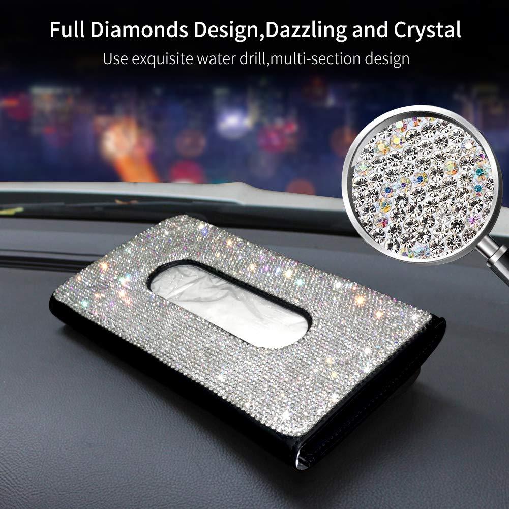 M MOKENEYE Bling Bling Car Visor Tissue Box Crystal Car Paper Napkin Case Universal Fit White Leather Tissue Holder Case