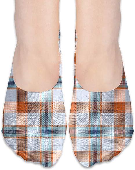 WOMEN/'S LADY/'S BLUE GEOMETRIC PLAID PATTERNED 15 DEN POP SOCKS ANKLE SOCKS