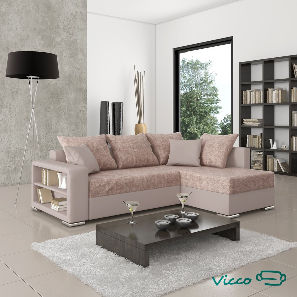 Ecksofa luna - grau-weiß - liegefunktion  Vicco Sofa Couch Ecksofa Houston Eckcouch Schlafsofa Polsterecke ...