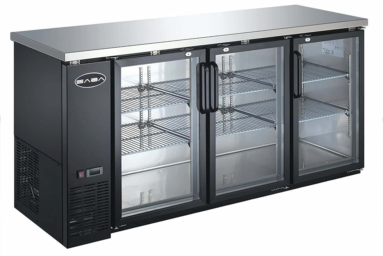 "72"" Commercial 3 Door Back Bar Beer Bottle Beverage Can Cooler Refrigerator, Black, with Stainless Steel Top and Glass Doors"