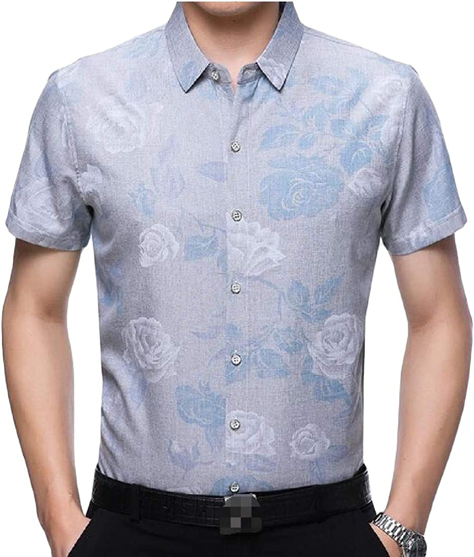 Wofupowga Mens Summer Short Sleeve Easy Fit Button Down Thin Breathable Shirts