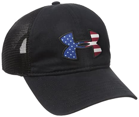 Under Armour Mens Big Flag Logo Mesh Cap, Black (001)/White,