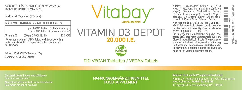 Vitamina D3 Depot 20.000 i.e. solo una Vegan Tablette/20 días: Amazon.es: Salud y cuidado personal
