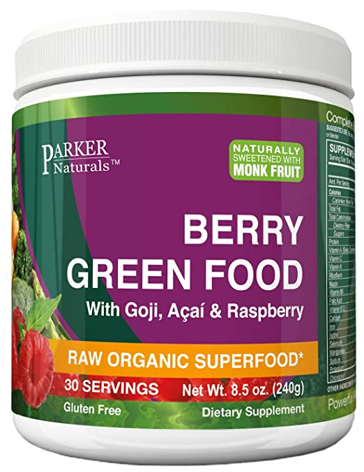 24 HOUR SALE! Berry Green Superfood Powder with Organic Greens & Organic Fruits, Enzymes, Probiotics, Antioxidants, Vitamins, Minerals - Alkanize & Detox - Non GMO, Vegan & Gluten Free - 240 Grams