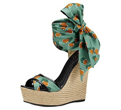 0c702ce9c28 Amazon.com  Gucci Shoes Carolina Heartbeat Satin Tie Wedge Espadrille  Sandals (IT 39   US 9)  Shoes
