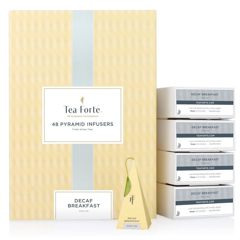 Tea Forté BULK PACK Decaf Breakfast Tea, 48 Handcrafted Pyramid Tea Infusers by Tea Forte
