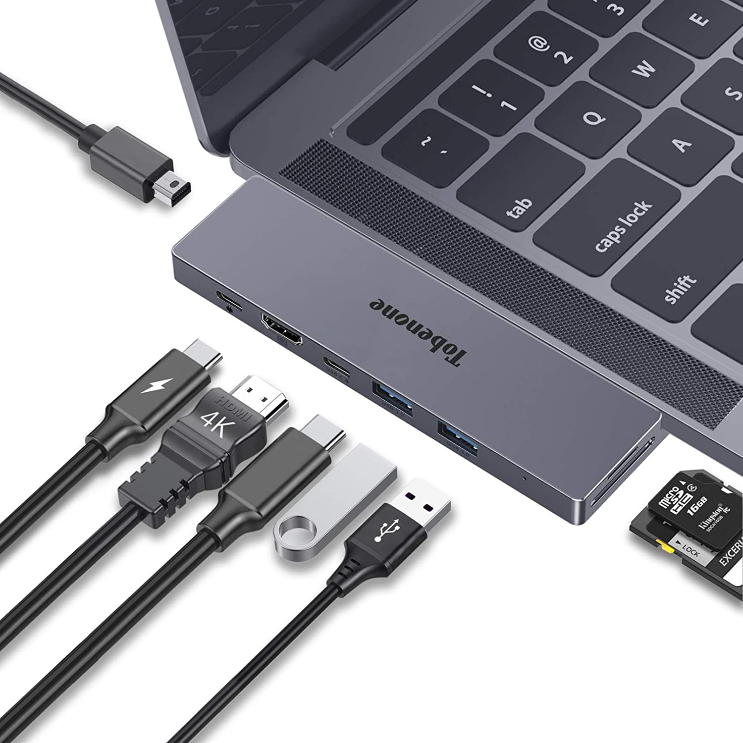 USB C Dual Monitor Dock for MacBook Pro/Air, 8-in-2 USB C Adapter for Dual Display with 4K MiniDP and HDMI, USB 3.0, PD Charging, USB-C and MicroSD/SD 4.0 Card Slot