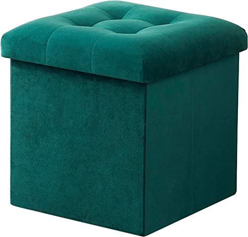 VECELO Tufted Velvet Ottoman Foot Stool Soft Large Padded Stool Upholstered Decorative Furniture Rest Green