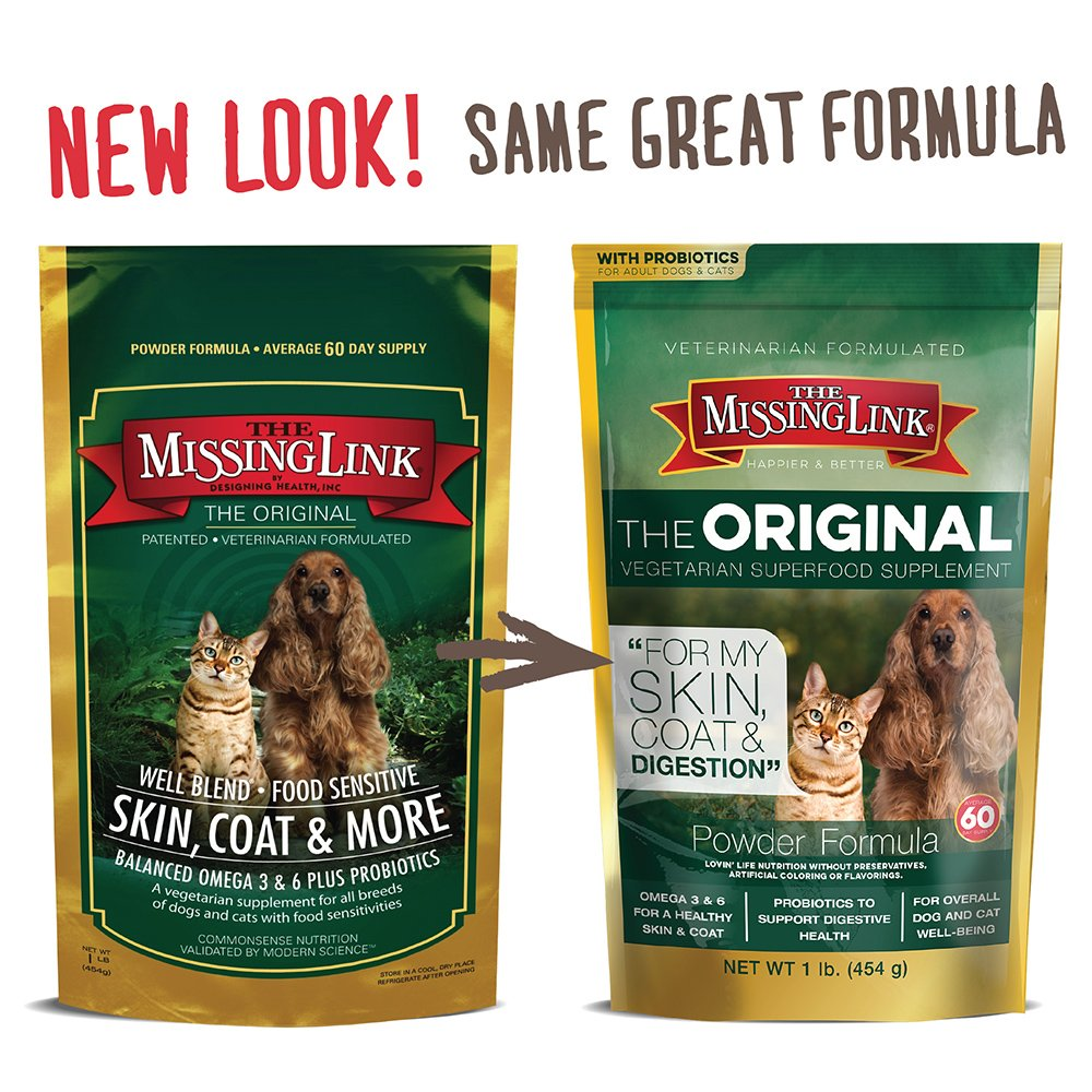 The Missing Link Well Blend Food Sensitive Skin, Coat and More Nutritional Supplement for Dogs and Cats - 1lb (3 Pack)