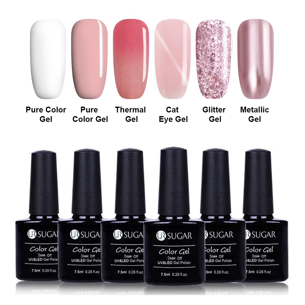 Amazon.com : UR SUGAR 7.5ml Gel Nail Polish Set Nude Pink White Pure ...