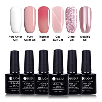 Amazoncom Ur Sugar 75ml Gel Nail Polish Set Nude Pink White Pure