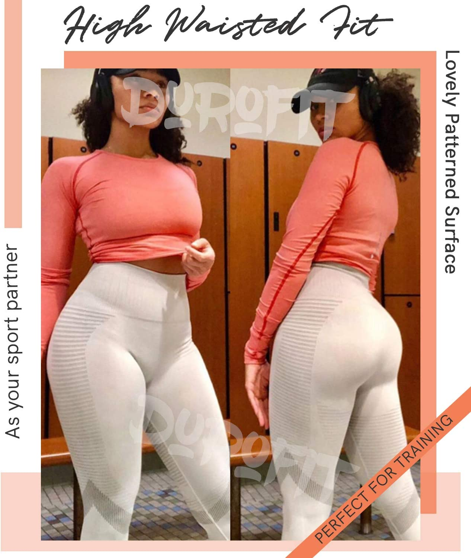 DUROFIT Leggings Mujer Fitness Push Up Cintura Alta Leggins Pantalones Deportivas Mallas de Fitness Moda El/ástico para Running Yoga Gimnasio