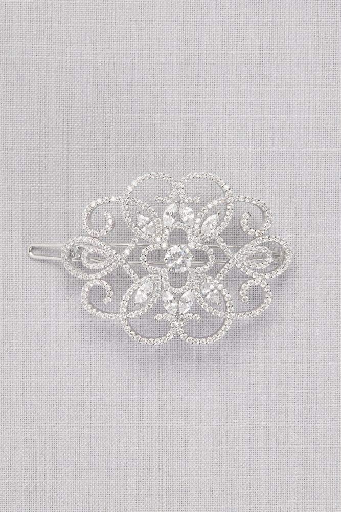 Cubic Zirconia Filigree Medallion Barrette Style HJ23609, Silver