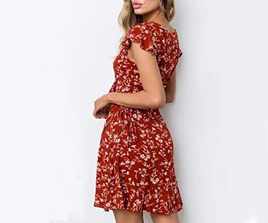 6f20717118892 Good-memories Red Floral Print V-Neck Wrap Beach Dresses Summer Women Tied Short  Sleeve Elegant Clothing at Amazon Women's Clothing store: