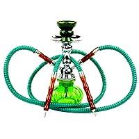 "NeverXhale Premium Series: 11"" 2 Hose Hookah Shisha Complete Set - Pumpkin Glass Vase - Pick Your Color (Spring Green)"