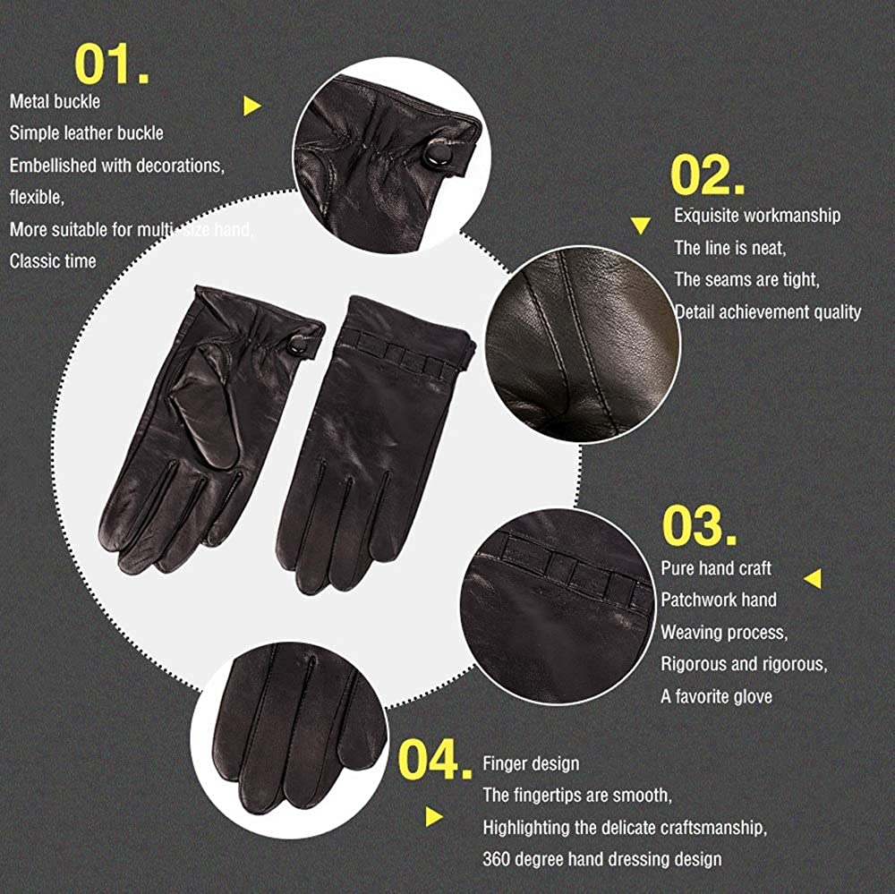 Color : Cashmere Lining, Size : XXL Agelec Leather Gloves Mens Business Touch Screen Thin Gloves Sheepskin Autumn and Winter Outdoor Cashmere Warm Motorcycle Mitten