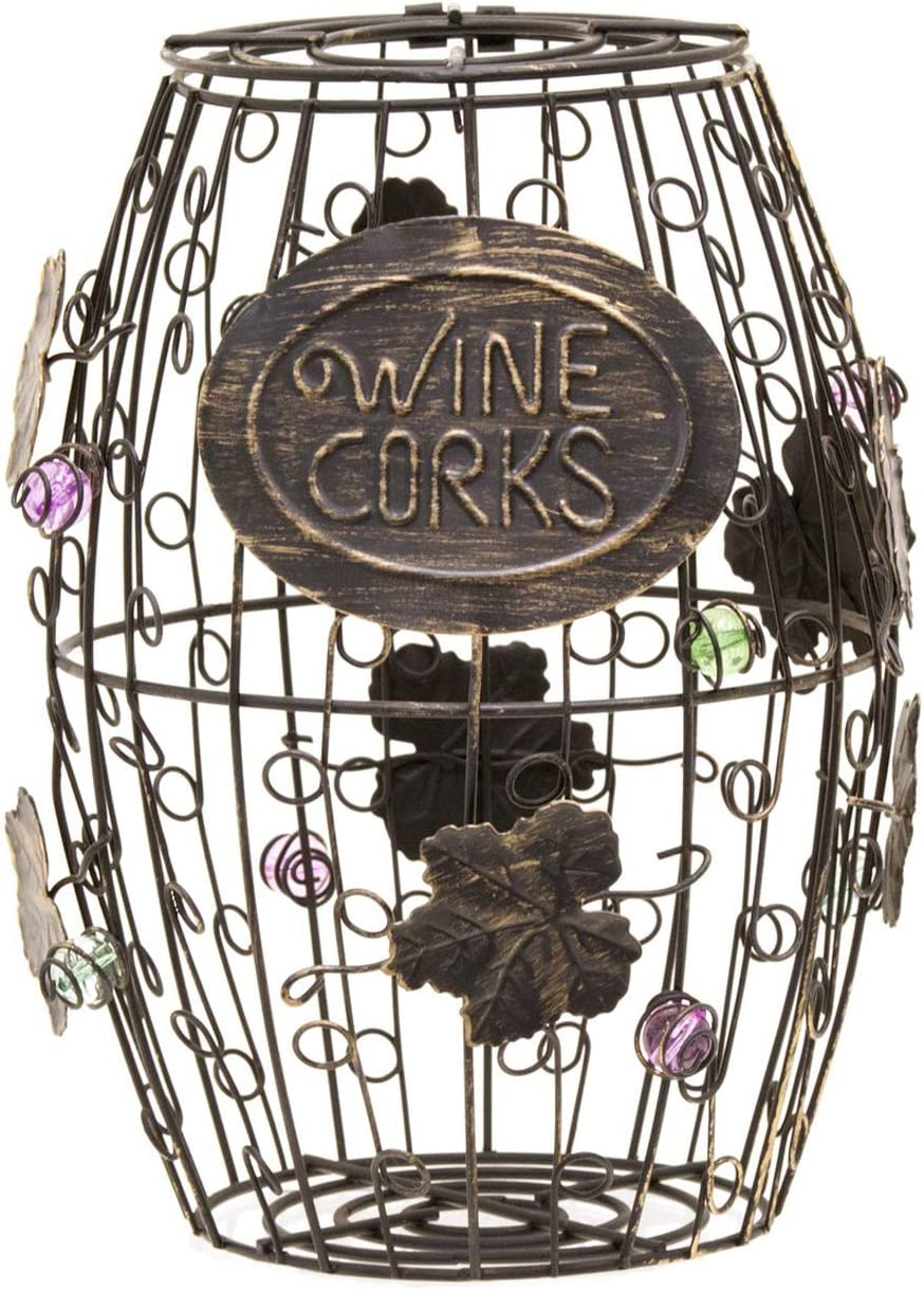 Mind Reader Corky Metal Wine Ornaments, Black Rustic Cork Holder