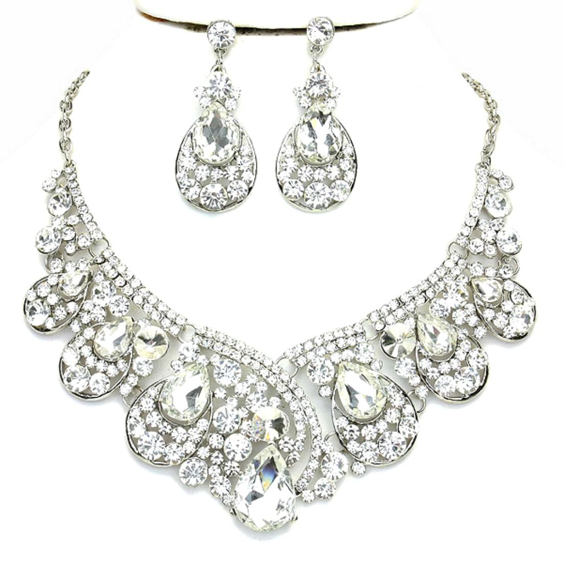 Women's Chunky Clear Crystal Statement Silver Chain Necklace Earrings Set Prom Bridal Pageant Jewelry by Design, fashion jewelry