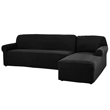 CHUN YI 2 Pieces L-Shaped Jacquard Polyester Stretch Fabric Sectional Sofa  Slipcovers (Right Chaise, Black)