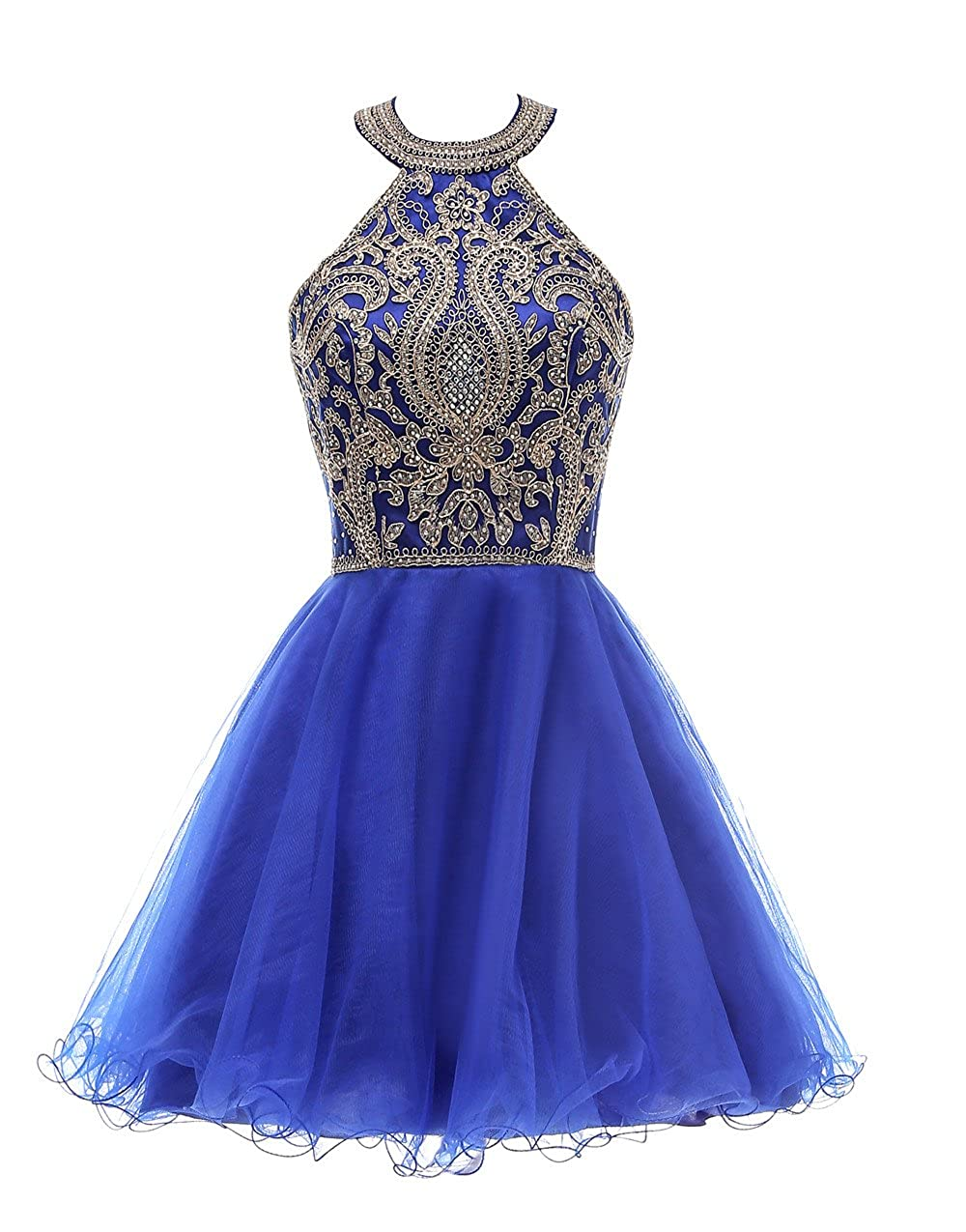 bluee Huifany Short gold Lace Prom Homecoming Dresses Appliques Beads Prom Party Gowns