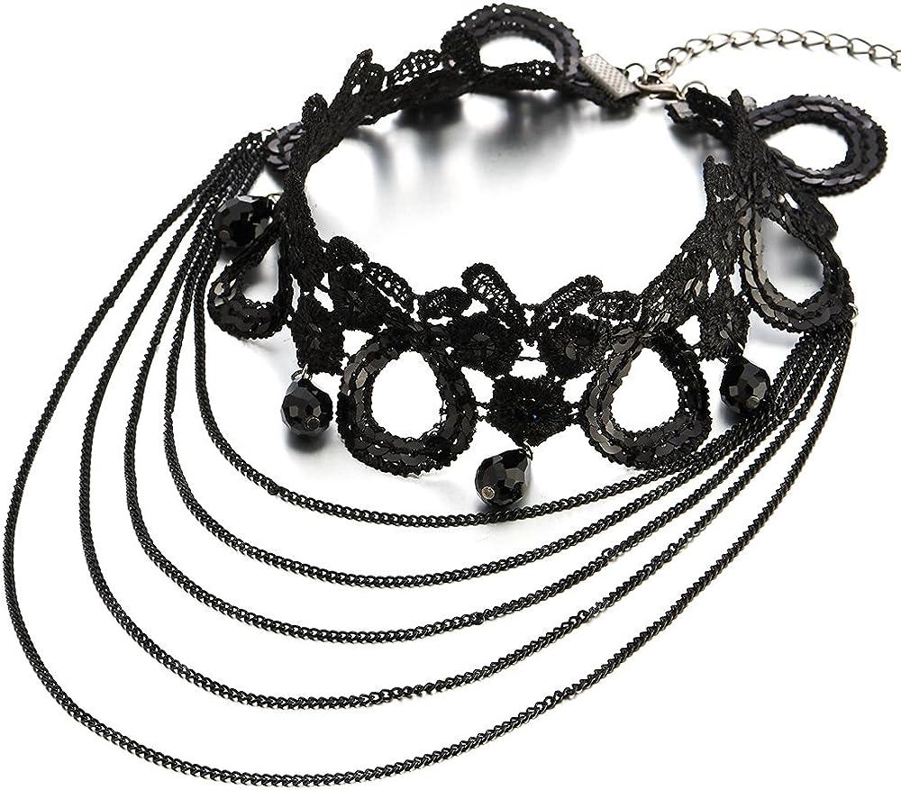 COOLSTEELANDBEYOND Estilo Gótico Negro Encaje Collar de Gargantilla Choker Collar de Mujer, Largo Cadena y Perla Lágrima Charm Colgante