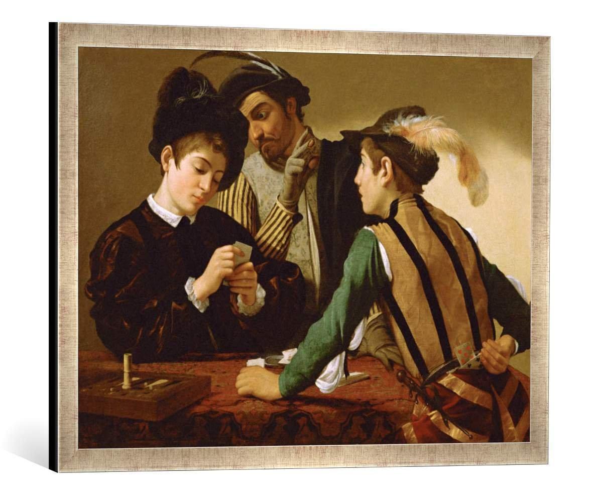 Gerahmtes Bild von Michelangelo Merisi Caravaggio Die Falschspieler, Kunstdruck im hochwertigen handgefertigten Bilder-Rahmen, 70x50 cm, Silber Raya