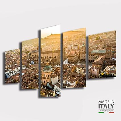 Quadri Moderni soggiorno BOLOGNA citta città Emilia romagna alba tramonto  200x100 cm 5 pezzi pannelli XXL Stampa su Tela quadro moderno arredamento  ...