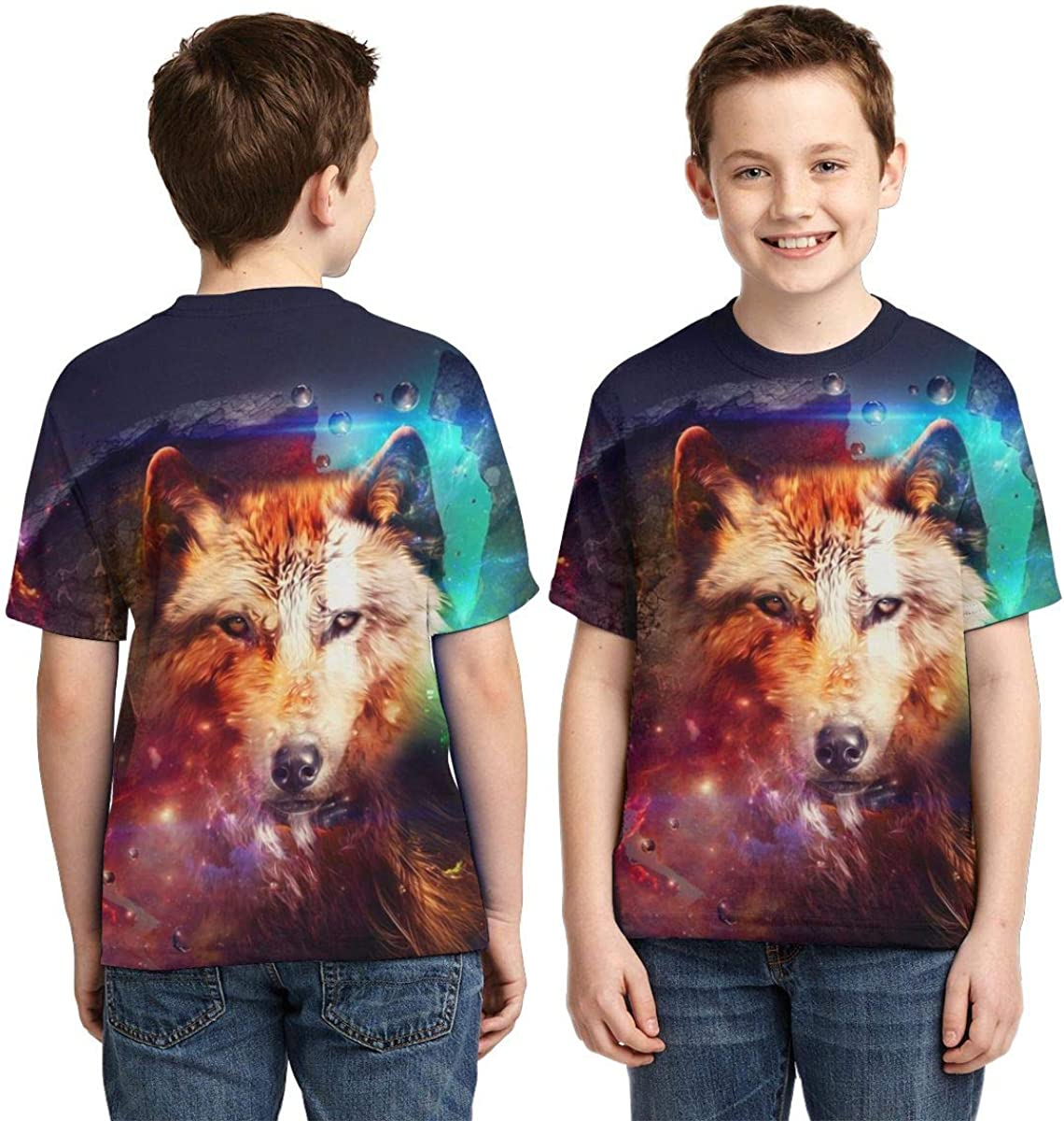 Boys Short Sleeve Wilk Fantasy Wolf 3D Print T-Shirts Graphic Tees for Kids Teens
