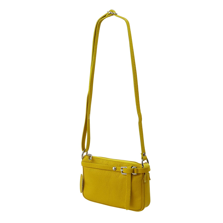 SH läder ® äkta läder axelväska liten väska Crossbody Bag Messenger handväska med dragkedja – aftonväska City Clutch Party – 22 x 15 cm Yvonne G157 GUL