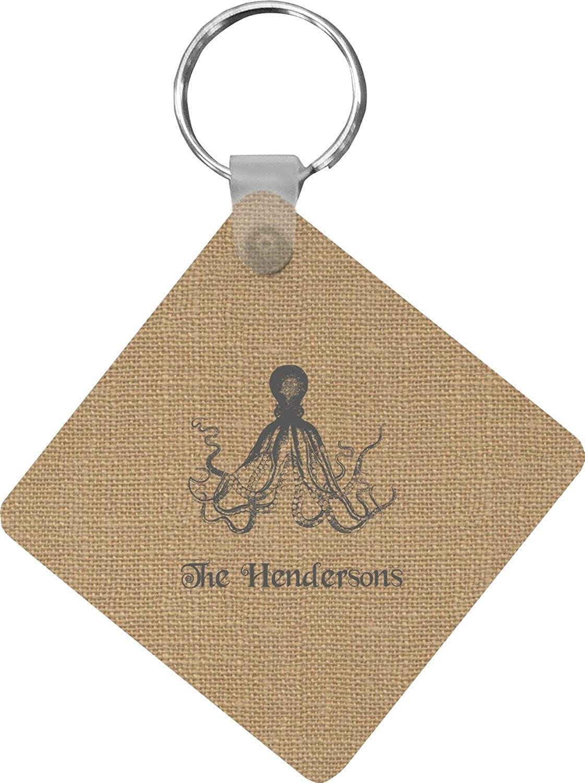 Octopus & Burlap Print Diamond Key Chain (Personalized)
