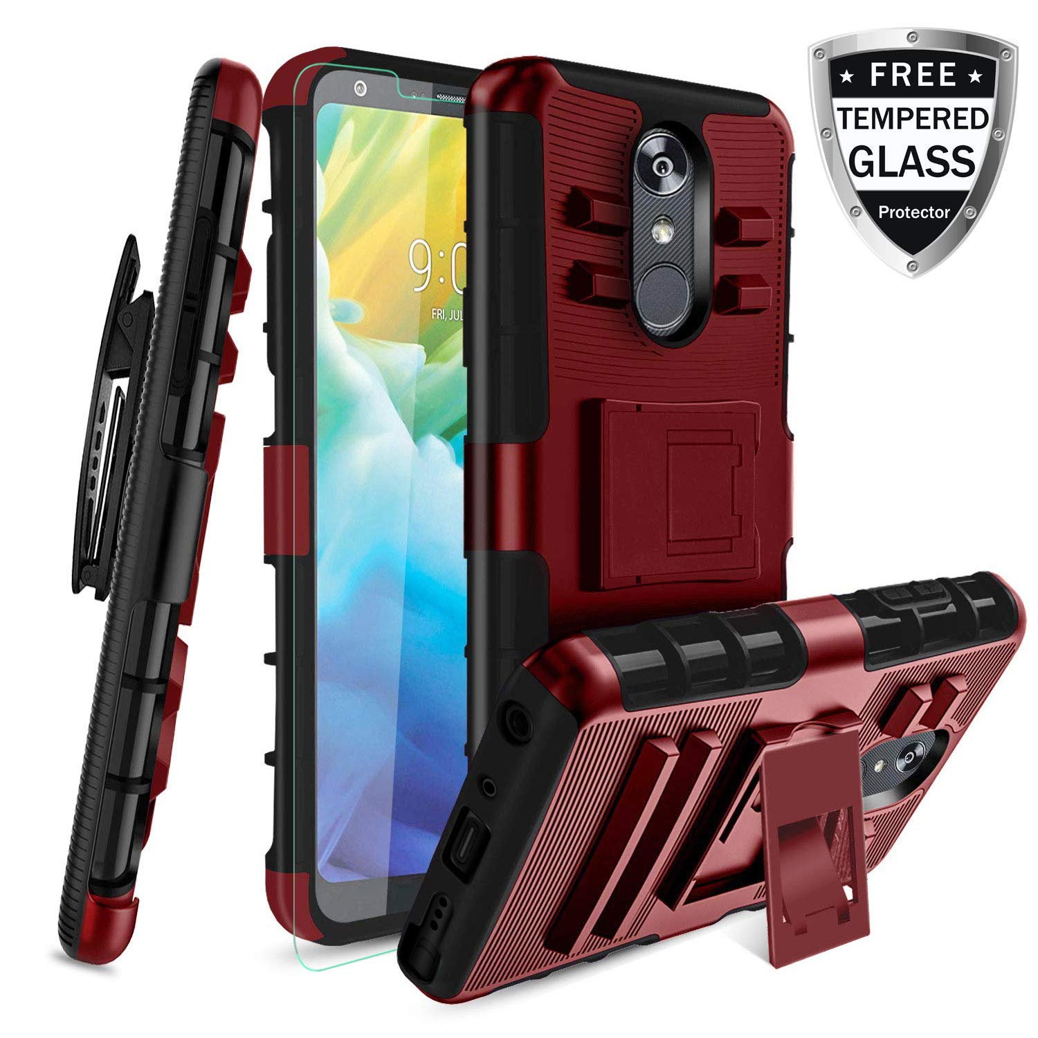 LG Stylo 4 Case, Stylo 4 Plus Case W/[Tempered Glass Screen Protector] Built-in Kickstand Full-Body Shockproof PC Back &Soft TPU Inner Armor Swivel Belt Clip Holster Heavy Duty Protective Case,PC-Red