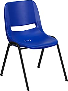 Flash Furniture HERCULES Series 880 lb. Capacity Blue Ergonomic Shell Stack Chair with Black Frame