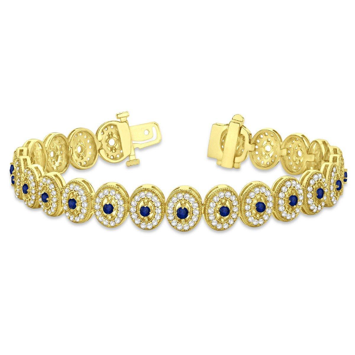 6.00ct 18k Gold Blue Sapphire Halo Vintage Bracelet