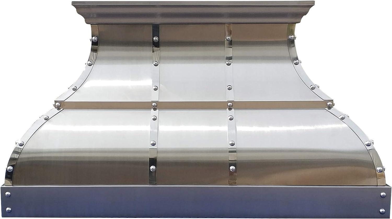 Custom Stainless Steel Range Hood, Handmade Metal Vent Hood, With 4-Speed Exhaust Fan & LED Light, 30-Inch Wide, Island Mount,SH12W3036